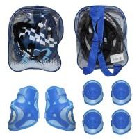 Capacete Infantil Azul + Kit Joelheira e Cotoveleira - Elleven