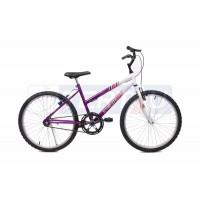 Bicicleta Aro 24 - MTB - Feminina - Violeta com Branca