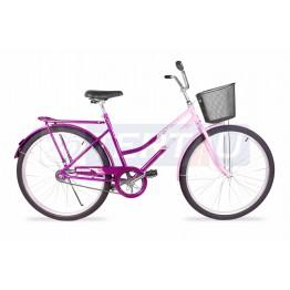Bicicleta Aro 26 - Tropical - Freio no Pé - Com Cesta - Rosa com Violeta