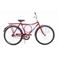 Bicicleta Aro 26 - Barra Circular - Freio no Pé - Vermelha