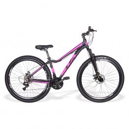 Bicicleta Aro 29 - GTA - 21 velocidades - Freio à Disco Mecânico - 15 – Preta/Rosa