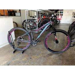 Bicicleta Aro 29 - Alfameq - 21 velocidades - Freio à Disco Mecânico - 15 – Preta/Verde Turquesa/Rosa